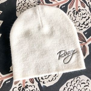 Roxy Beanie Hat- Cream With Silver Embroidery